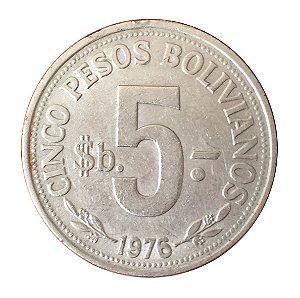 Moeda Antiga da Bolívia 5 Pesos 1976