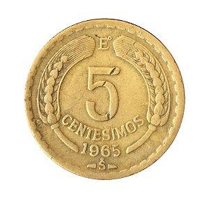 Moeda Antiga do Chile 5 Centésimos 1965