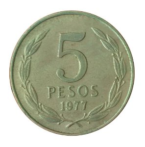 Moeda Antiga do Chile 5 Pesos 1977