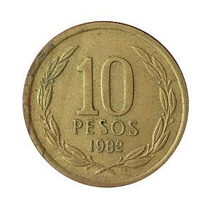 Moeda Antiga do Chile 10 Pesos 1982