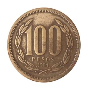 Moeda Antiga do Chile 100 Pesos 1984