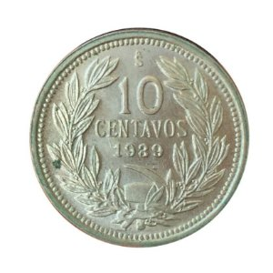Moeda Antiga do Chile 10 Centavos 1939