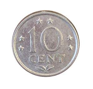 Moeda Antiga das Ilhas Holandesas 10 Cent 1975