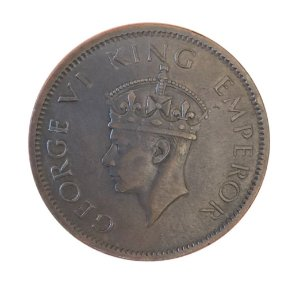 Moeda Antiga da Índia Britânica One Quarter Anna 1942