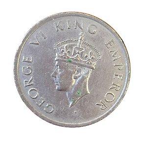 Moeda Antiga da Índia Britânica Half Rupee 1946