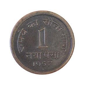 Moeda Antiga da Índia Britânica Naya Paisa 1957