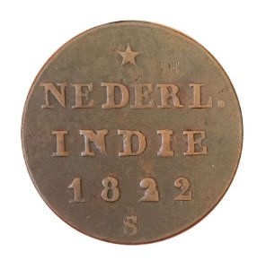 Moeda Antiga das Índias Holandesas 1/2 Stuiver 1822 S (Ilha de Sumatra)