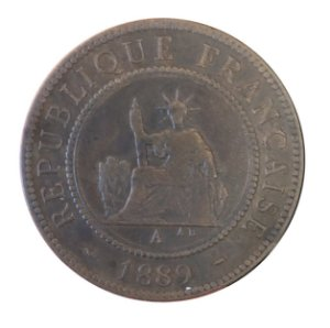 Moeda Antiga da Indochina Francesa 1 cent 1889