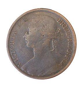 Moeda Antiga da Inglaterra Penny 1893