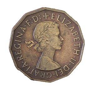 Moeda Antiga da Inglaterra Three Pence 1955