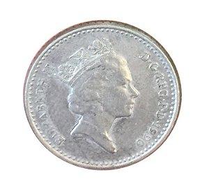 Moeda Antiga da Inglaterra 5 Pence 1990