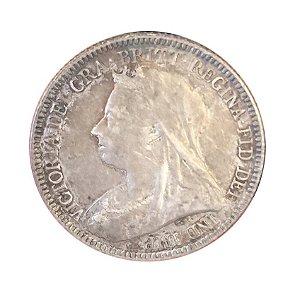 Moeda Antiga da Inglaterra Six Pence 1893