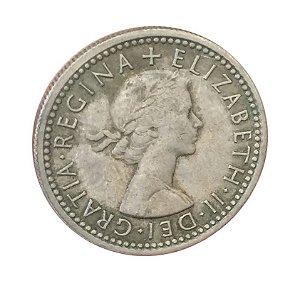 Moeda Antiga da Inglaterra Six Pence 1960