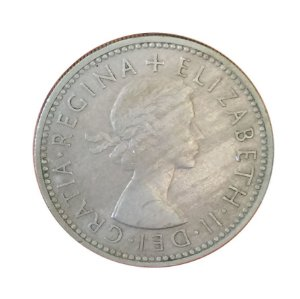 Moeda Antiga da Inglaterra One Shilling 1956