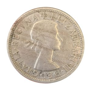 Moeda Antiga da Inglaterra Half Crown 1957