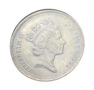 Moeda Antiga da Inglaterra 10 Pence 1992