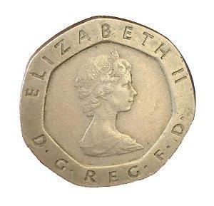 Moeda Antiga da Inglaterra 20 Pence 1983