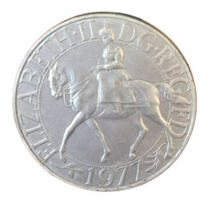 Moeda Antiga da Inglaterra 25 New Pence 1977