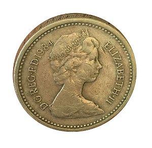 Moeda Antiga da Inglaterra One Pound 1984