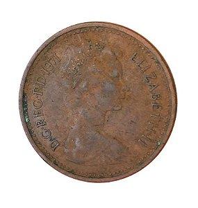 Moeda Antiga da Inglaterra 1 New Penny 1971