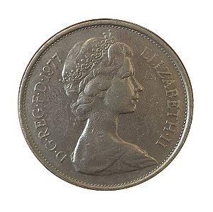 Moeda Antiga da Inglaterra 10 New Pence 1977