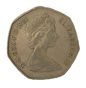 Moeda Antiga da Inglaterra 50 New Pence 1981