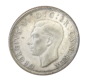 Moeda Antiga da Inglaterra Two Shillings 1939