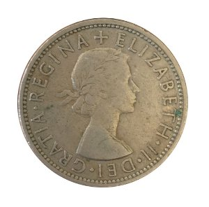 Moeda Antiga da Inglaterra Two Shillings 1954