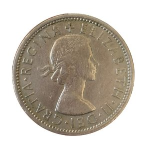 Moeda Antiga da Inglaterra Two Shillings 1966