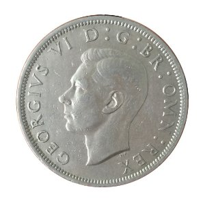 Moeda Antiga da Inglaterra Half Crown 1948