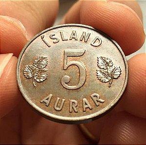 Moeda Antiga da Islândia 5 Aurar 1946 - PROOF