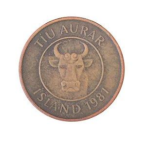Moeda Antiga da Islândia 10 Aurar 1981