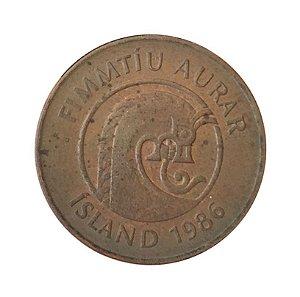 Moeda Antiga da Islândia 50 Aurar 1986