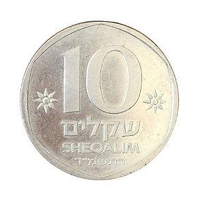 Moeda Antiga de Israel 10 Sheqalim 1984 - Theodor Herzl