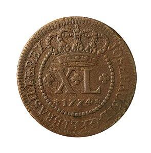 Moeda Antiga do Brasil XL Réis 1774
