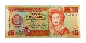 Cédula Antiga de Belize $5 1990