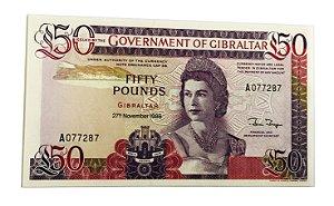 Cédula Antiga de Gibraltar 50 Pounds 1986