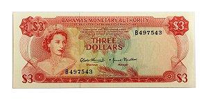 Cédula Antiga de Bahamas $3 1968