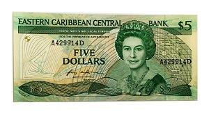 Cédula Antiga de Eastern Caribbean $5 1986-88