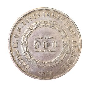 Moeda Antiga do Brasil 500 Réis 1864