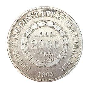 Moeda Antiga do Brasil 2000 Réis 1863