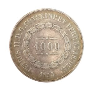 Moeda Antiga do Brasil 1000 Réis 1855