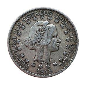 Moeda Antiga do Brasil 2000 Réis 1913 - Estrelas Soltas