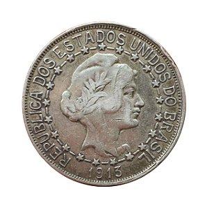 Moeda Antiga do Brasil 2000 Réis 1913 - Estrelas Ligadas
