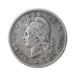Moeda Antiga da Argentina 50 Centimos 1883