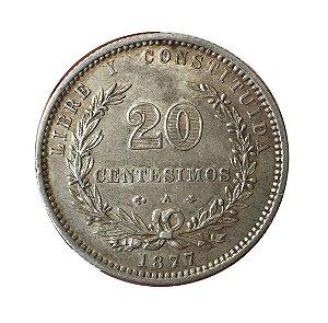 Moeda Antiga do Uruguai 20 Centésimos 1877