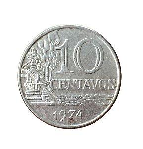 Moeda Antiga do Brasil 10 Centavos de Cruzeiro 1974