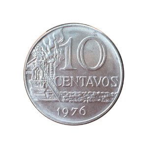 Moeda Antiga do Brasil 10 Centavos de Cruzeiro 1976