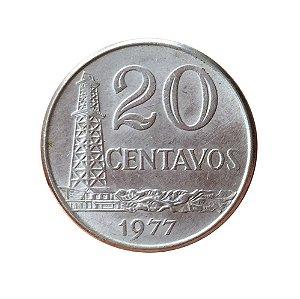 Moeda Antiga do Brasil 20 Centavos de Cruzeiro 1977