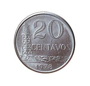 Moeda Antiga do Brasil 20 Centavos de Cruzeiro 1978